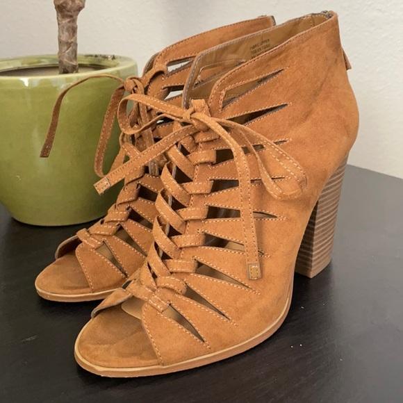Brown faux suede tie block heels